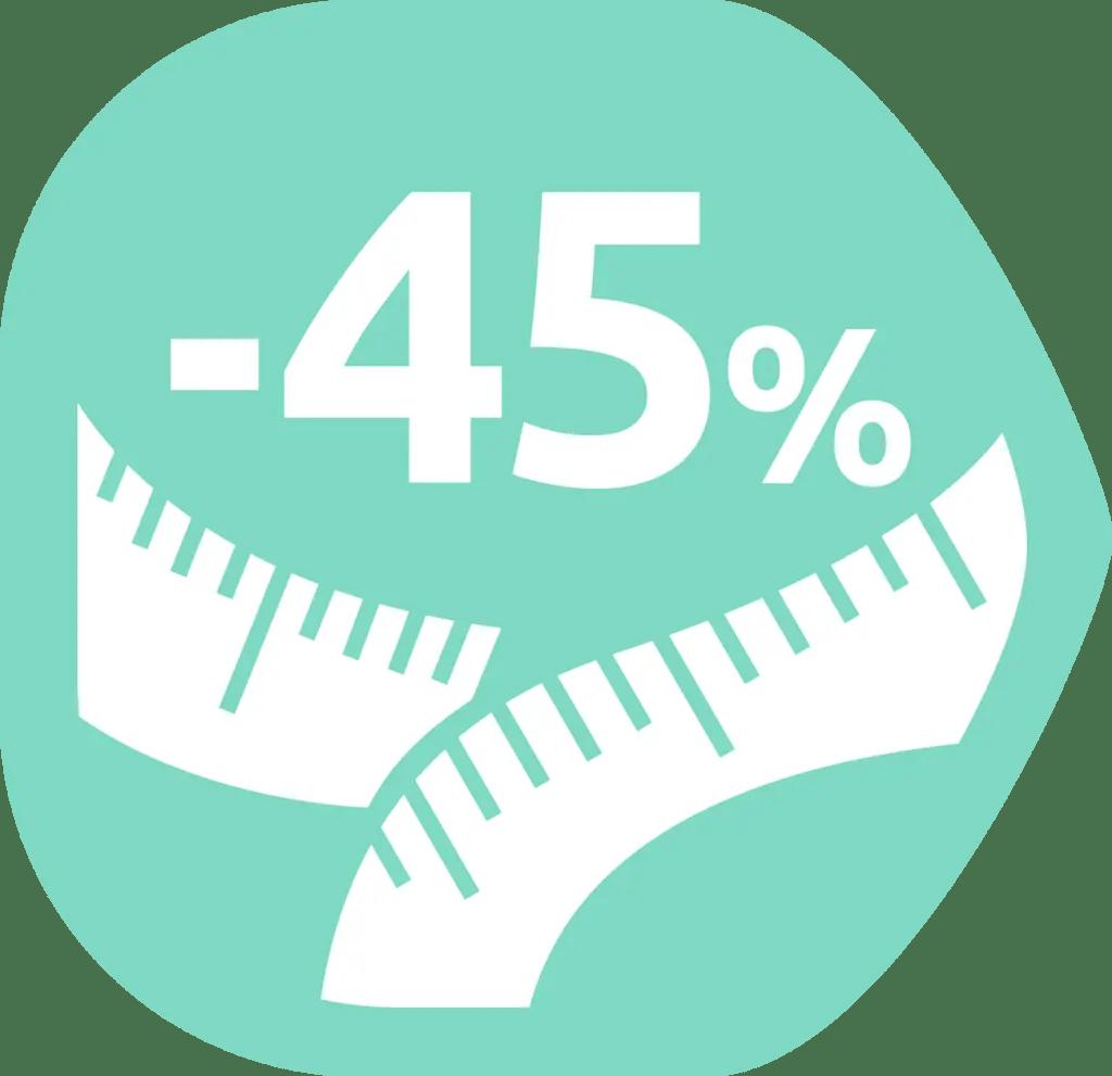 Contiene un 45% menos de grasas*